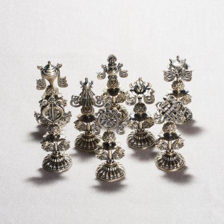 Ashtamangala or Eight Auspicious Symbols : Tibetan Traditional Figurines — 9.5 cm