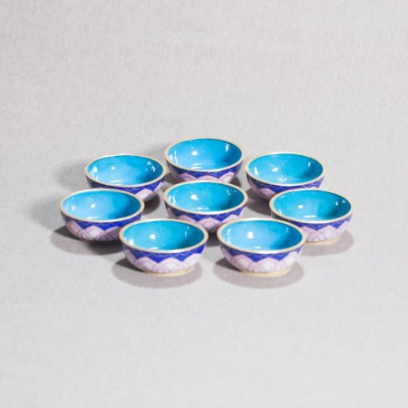 8 offering bowls covered with cloisonne, Blue and Liliac color — 8 cm
