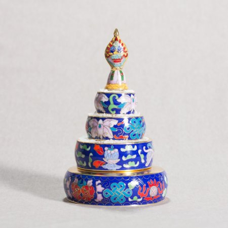 Tiny Buddhist Mandala Set decorated with cloisonne — 17 cm, Red color