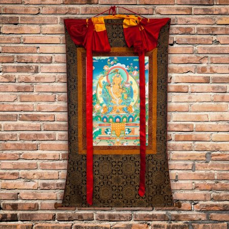 "Thangka ""Manjushree"" real Buddhist traditional painting : buy from our Tibetan ritual art collection — DharmaCraft"