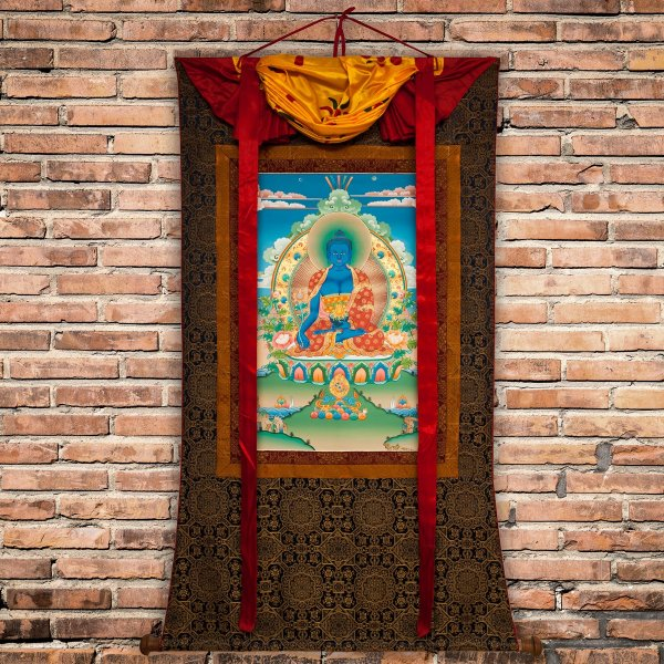 """Thangka """"Medicine Buddha"""", real Buddhist traditional painting : buy from our Tibetan ritual art collection — DharmaCraft"""