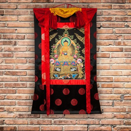 "Thangka "" Buddha Shakyamuni"" exclusive Buddhist traditional painting : buy from our Tibetan ritual art collection — DharmaCraft"