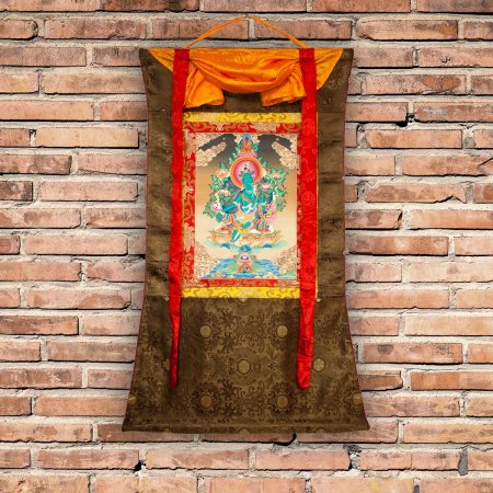 "Thangka ""Green Tara"" aka ""Drolma"" real Buddhist traditional painting : buy from our Tibetan ritual art collection — DharmaCraft"