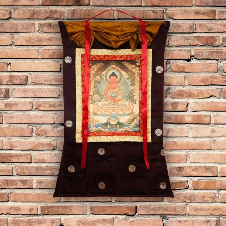 "Thangka ""Buddha Amitabha"" real Buddhist traditional painting : buy from our Tibetan ritual art collection — DharmaCraft"