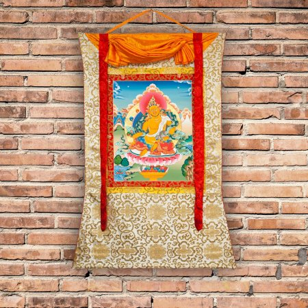 "Thangka ""Jambhala, the God of Wealth"" Buddhist traditional painting : buy from our Tibetan ritual art collection — DharmaCraft"