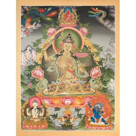 "Thangka ""Manjushree, bodhisattva of wisdom"" Buddhist traditional painting : buy from Tibetan fine art collection — DharmaCraft"