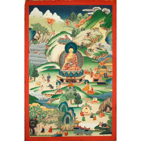 "Thangka ""Buddha Shakyamuni Lifestory — Jatakas"" Buddhist traditional painting : buy from Tibetan art collection — DharmaCraft"