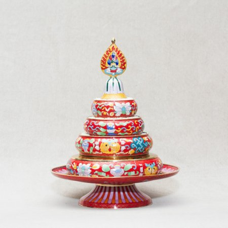 Big Mandala Set decorated with cloisonne, Red color
