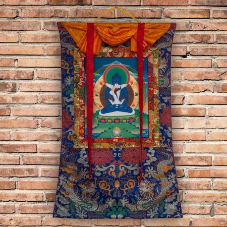 "Thangka ""Samantabhadra (Kuntuzangpo)"" real Buddhist traditional painting : buy from DharmaCraft's Tibetan ritual art collection"