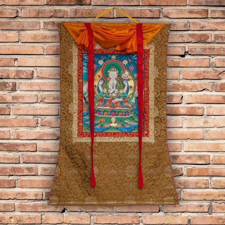 "Thangka ""Bodhisattva Avalokitesvara"" real Buddhist traditional painting : buy from DharmaCraft's Tibetan ritual art collection"