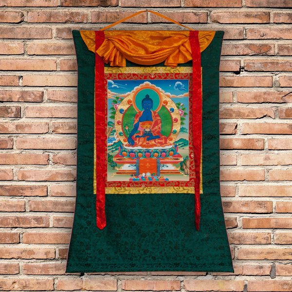 "Thangka ""Medicine Buddha (Menla)"" real Buddhist traditional painting : buy from DharmaCraft's Tibetan ritual art collection"