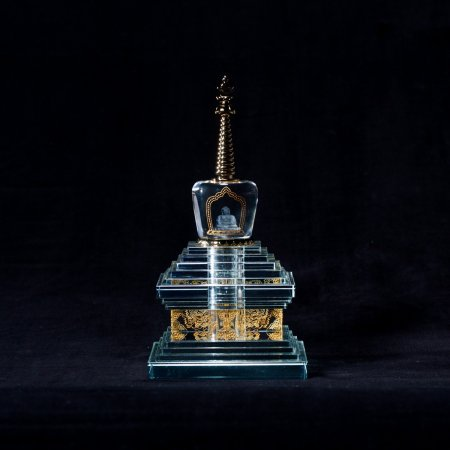 Buddhist Enlightenment Stupa made from glass — 24 cm