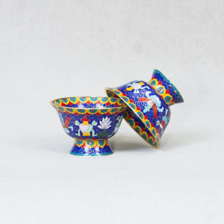 Set of 8 Tibetan bowls for water offering decorated with cloisonne : buy from our perfect buddhist altar — DharmaCraft