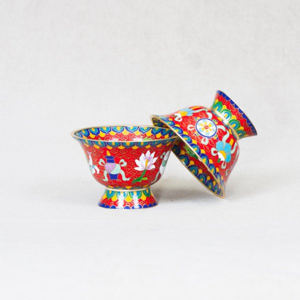 Set of 7 Tibetan bowls for water offering decorated with cloisonne : buy from our perfect buddhist altar — DharmaCraft