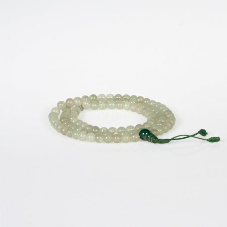 Traditional 108 beads White Jade Mala — 8 mm