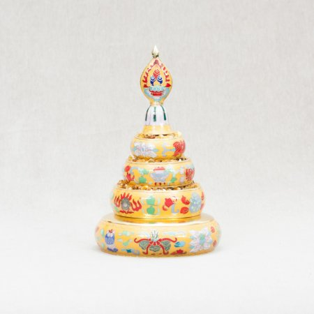 Small Buddhist Mandala Set decorated with cloisonne — 20.5 cm, Yellow color