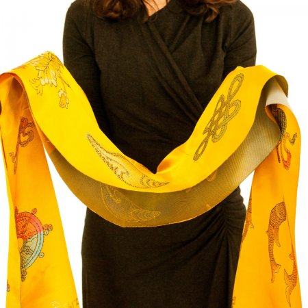 Luxurious Yellow Khata - Ceremonial scarf