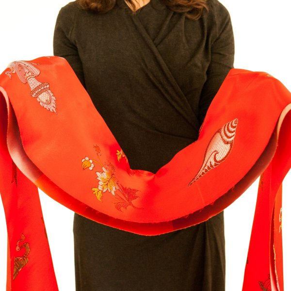 Luxurious Red Khata - Ceremonial scarf