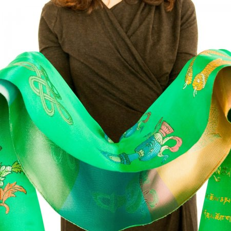 Luxurious Green Khata - Ceremonial scarf