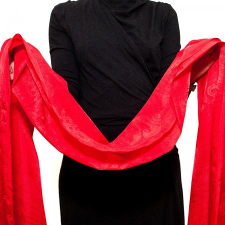 Red Silk Khata — Ceremonial scarf