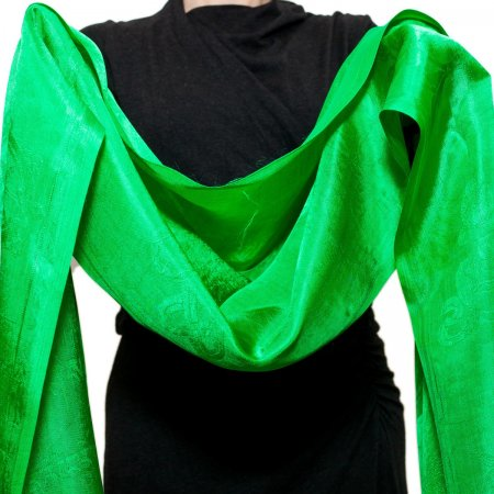 Green Silk Khata — Ceremonial scarf
