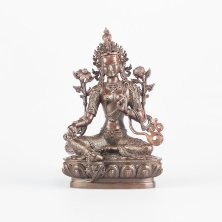 Green Tara (also known as Drolma) : Highest Quality collection, 11 cm statue from Kham