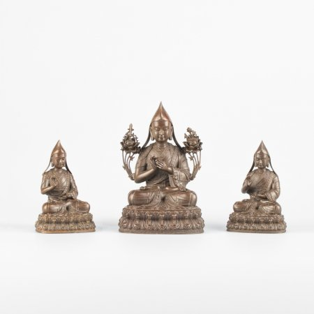 Lama Tsongkhapa with two disciples — 11 cm statue