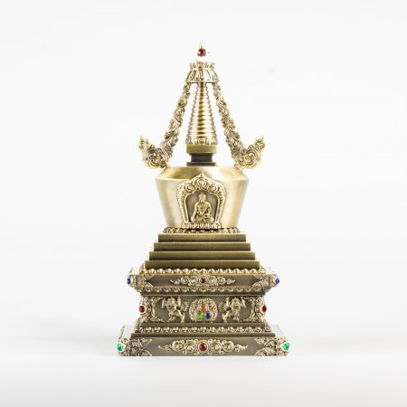 Big Buddhist Enlightenment aka Conquest of Mara Stupa : buy from our tibetan statues collection — DharmaCraft