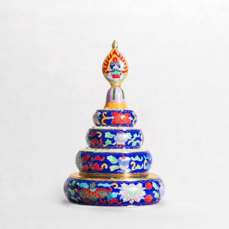 Small Buddhist mandala set decorated with cloisonne, blue color : buy from our Tibetan ritual goods collection — DharmaCraft
