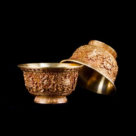 Tibetan buddhist altar: buy a set of thick tibetan copper offering bowls — DharmaCraft buddhist boutique