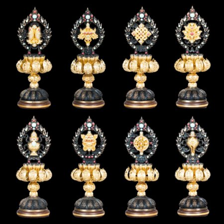 Tibetan buddhist altar: buy luxury set of Ashtamangala, Eight Auspicious Symbols, figurines — DharmaCraft buddhist boutique