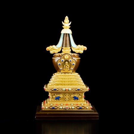 Exclusive Buddhist Enlightenment aka Conquest of Mara Stupa : buy from our tibetan statues collection — DharmaCraft