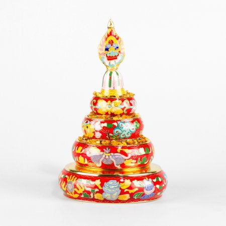 Small Buddhist mandala set decorated with cloisonne, red color : buy from our Tibetan ritual goods collection — DharmaCraft