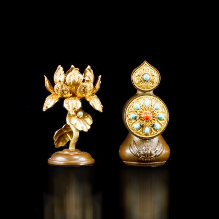 Tibetan buddhist altar: buy our amazing Lotus and Torma bronze figurines Tibetan Art Collection — DharmaCraft buddhist boutique