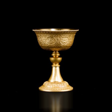 Buddhist Butter Lamp made from tombac, small size : buy from our Tibetan ritual goods collection — DharmaCraft