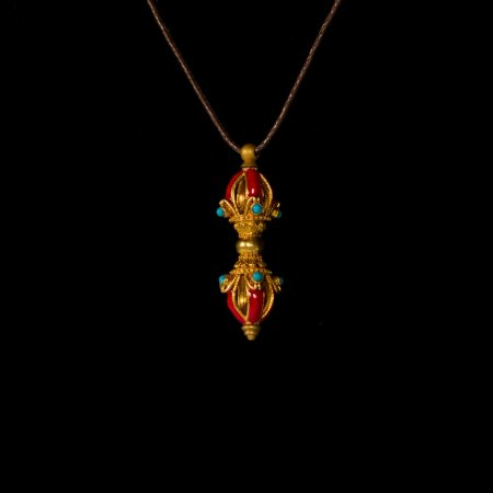 "Tibetan Traditional Pendant ""Dorje"" decorated with red glaze. Buy from our Buddhist adornments & decor collection — DharmaCraft"