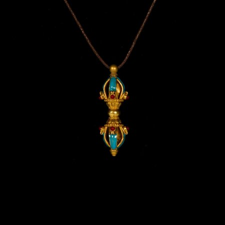"Tibetan Traditional Pendant ""Dorje"" decorated with blue glaze. Buy from our Buddhist adornments & decor collection — DharmaCraft"