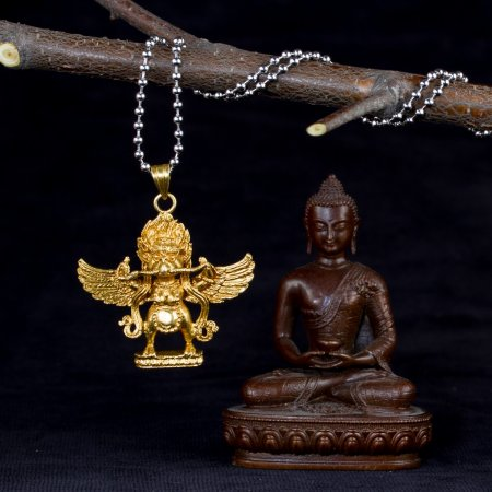"""Tibetan Traditional Pendant """"Garuda"""" small but finely carved. Buy from our Buddhist adornments & decor collection — DharmaCraft"""