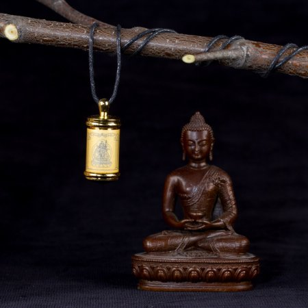 Tibetan Traditional gau (amulete box) with mantra of Padmasambhava. Buy from our Buddhist adornments collection — DharmaCraft