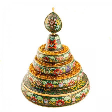 Big Luxury Buddhist Mandala decorated with cloisonne, green color : buy from our Tibetan ritual goods collection — DharmaCraft
