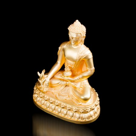 Esclusive Gold Plated Statue of Medicine Buddha aka Menla : buy from our Tiobetan Buddhist Art collection — DharmaCraft