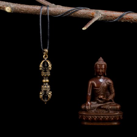 "Tibetan Traditional Pendant ""Dorje"" made from copper. Buy from our Buddhist adornments & decor collection — DharmaCraft"