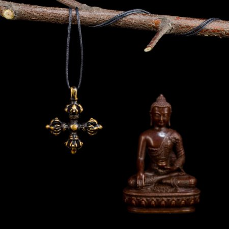 "Tibetan Traditional Pendant ""Double Dorje"" made from copper. Buy from our Buddhist adornments & decor collection — DharmaCraft"