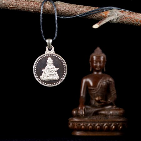 "Tibetan Traditional Pendant ""Jabhala"", small perfection made from silver. Buy from our Buddhist adornments & decor — DharmaCraft"