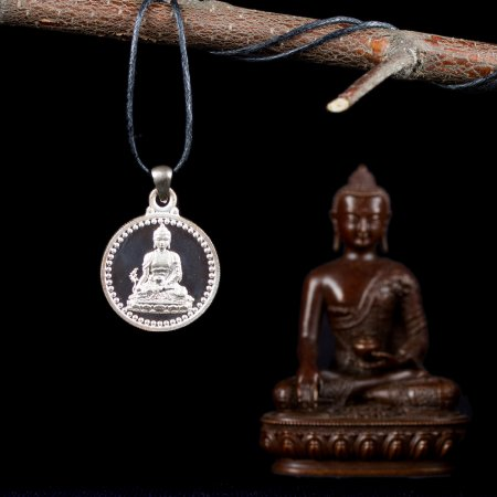 "Tibetan Traditional Pendant ""Menla"", small perfection made from silver. Buy from our Buddhist adornments & decor — DharmaCraft"
