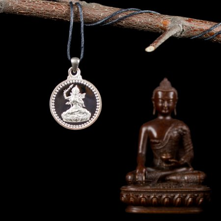 "Tibetan Traditional Pendant ""Manjusri"", small perfection made of silver. Buy from our Buddhist adornments & decor — DharmaCraft"