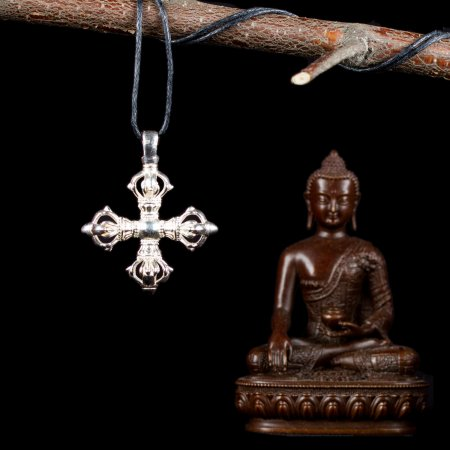 "Tibetan Traditional Silver Pendant ""Double Dorje"". Buy from our Buddhist adornments & decor collection — DharmaCraft"