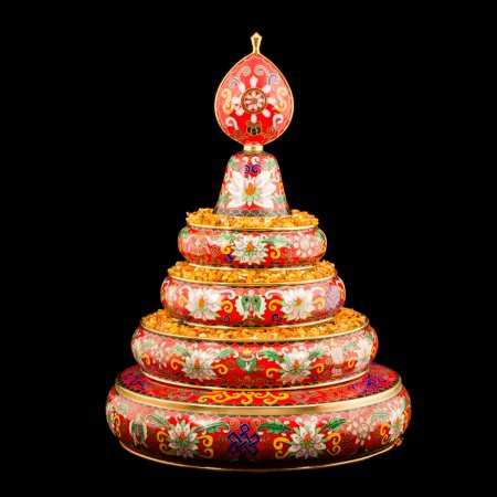 Medium Buddhist mandala set decorated with cloisonne, yellow color : buy from our Tibetan ritual goods collection — DharmaCraft
