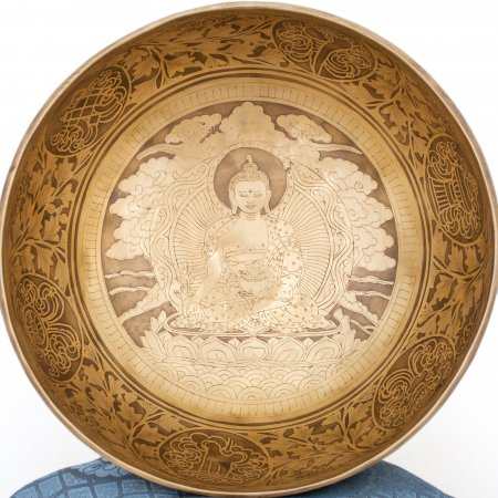 Himalayan Singing Bowl decorated with carving of Menla aka Medicine Buddha. High quality mix of 7 metals.
