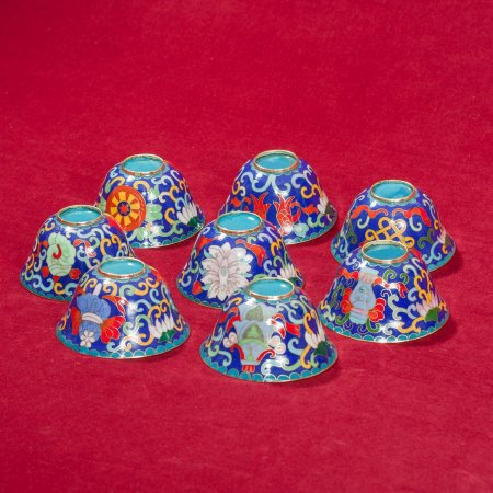 Tibetan buddhist altar: buy a set of tibetan cloisonne offering bowls — DharmaCraft buddhist boutique